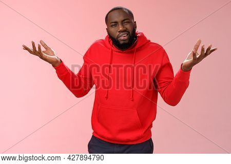 Bothered Pissed African American Bearded Boyfriend In Red Hoodie Arguing Standing Questioned Bothere