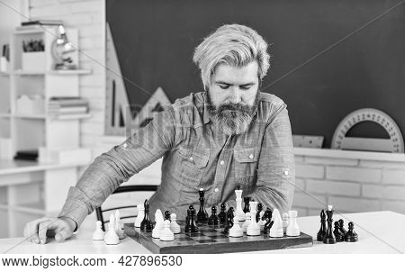 Chess Is Rarely Game Of Ideal Moves. Chess Lesson. Strategy Concept. Thinking About Next Step. Devel