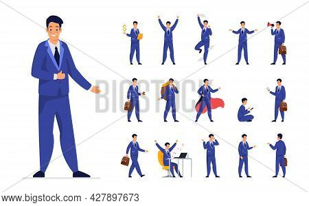 Businessman Office Worker Design Set. Flat Vector Illustration Isolated On White Background. Male Ca