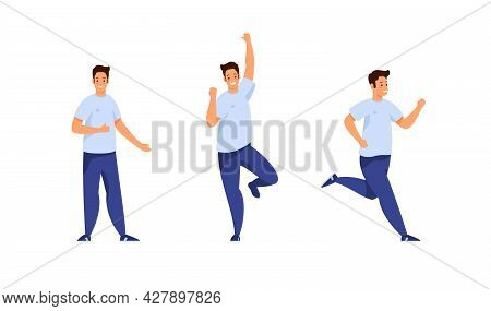 Cheerful Sporty Student Different Poses And Activities Set. Young Man In Jeans And Tshirt Jumps Happ