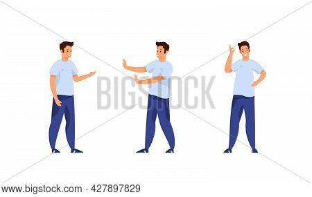 Young Man Various Gestures Set. Guy In Jeans And Tshirt Emotionally Proves Point Of View And Refuses