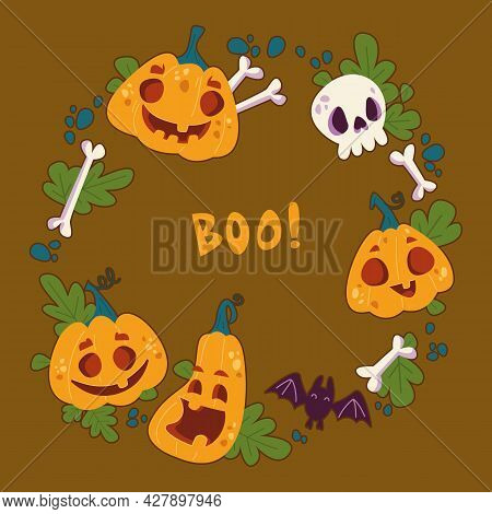 Round Frame For Halloween With A Decor Of Pumpkins On A Khaki Background. Cheerful Cartoon Character
