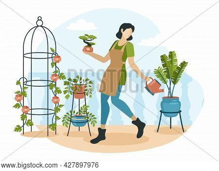 Woman Takes Care Of Home Interior Plants. Girl In Apron Happily Watering Flowers In Pots. Vintage In