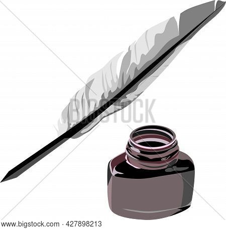 Black Writing Ink With Feather Classic Stationary