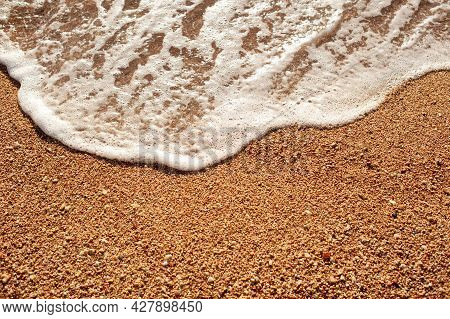 Beach Sand Sea Shore With Wave And White Foamy Summer Background, Aerial Beach Top View Overhead Sea