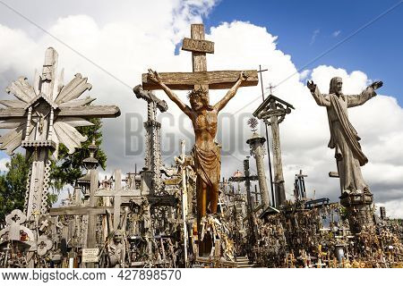 Siauliai, Lithuania - Circa July 2013 - Hill Of Crosses A Famous Site Of Pilgrimage In Northern Lith