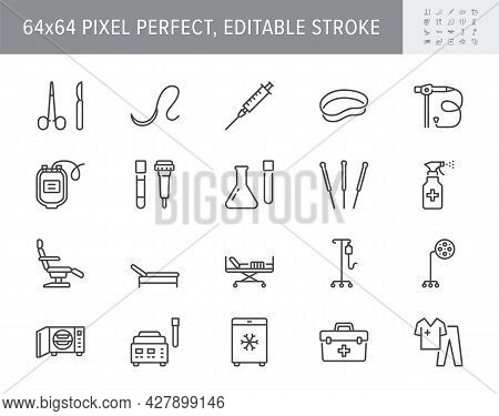 Medical Equipment Line Icons. Vector Illustration Include Icon - Blood Bag, Scalpel, Medical Furnitu