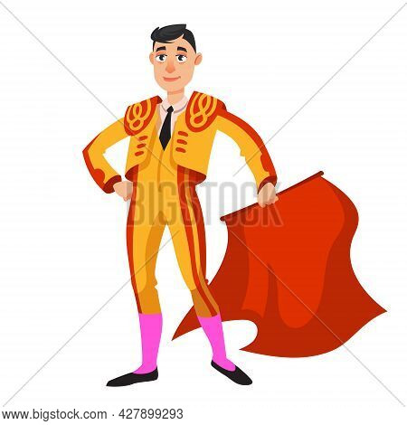 Bullfighter Holding Red Cloth. Male Person In Cartoon Style.