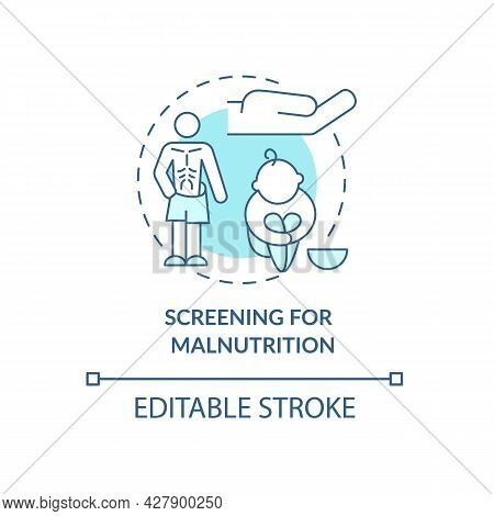 Screening For Malnutrition Concept Icon. Hand Of Mercy. Humanitarian Aid And World Hunger Problem Ab