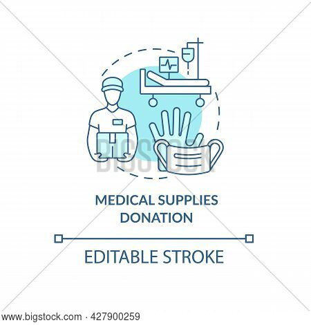 Medical Supplies Donation Concept Icon. Humanitarian Aid Delivery. Charitable Hospitals Equipment Ab