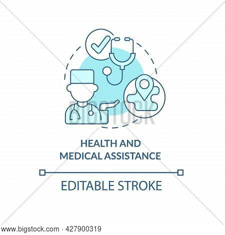Health And Medical Assistance Concept Icon. Personal Doctor Survey. Humanitarian Aid And Special Car