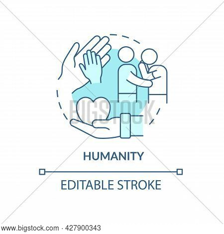 Humanity Against People Suffering Concept Icon. Empathy And Compassion In Emergency. Humanitarian Ai