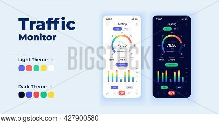 Traffic Monitor Cartoon Smartphone Interface Vector Templates Set. Mobile App Screen Page Day And Da