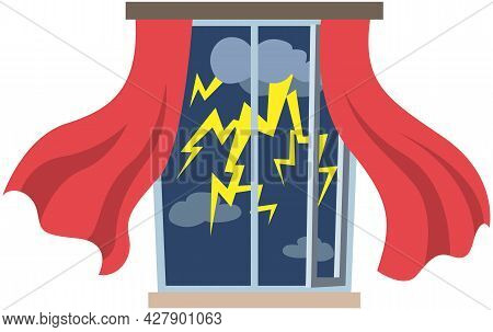 Thunderstorms And Window In Rainy Season. Curtains Are Blown Away By Strong Wind. Windy Weather, Rai