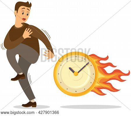 Deadline Business Concept, Time Management, Fear Of Being Late. Businessman Is Afraid Of Time. Scare