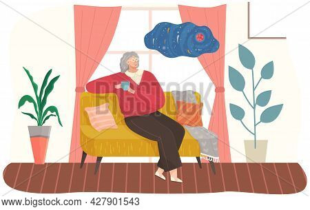 Adult Woman Sitting On Couch At Home Drinking Coffee Resting After Work, Thinking About Something. F
