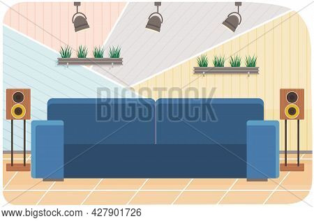 Arrangement Of Furniture In Workplace Of Interviewer. Furniture Elements And Decorations Of Interior