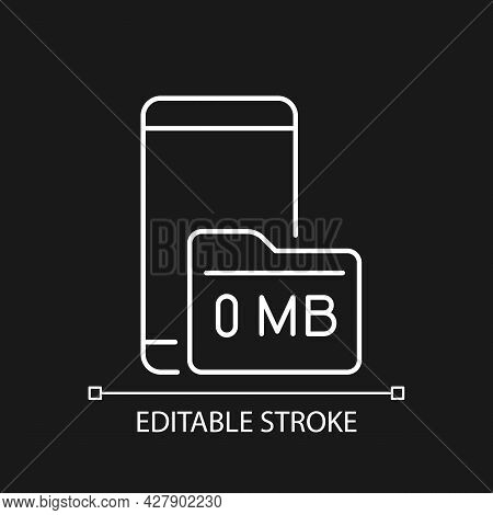 Full Storage Space White Linear Icon For Dark Theme. Smartphone And Memory Card. Zero Megabyte Left.