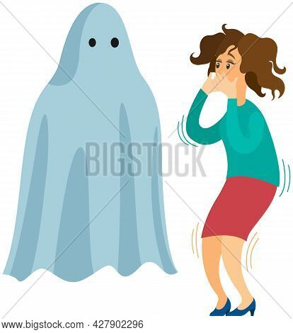 Woman Scared Of Spooky Monster. Person Is Afraid Of Ghost. Girl Tries Not To Scream At Sight Of Mons