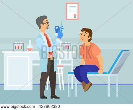 Doctor Making Vaccine, Injection To Patient In Hospital. Man Is Afraid Of Inoculation Campaign. Fear