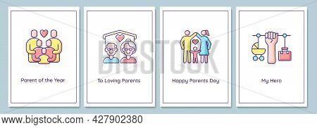 Parents Day Celebration Greeting Cards With Color Icon Element Set. Honoring Parents. Postcard Vecto