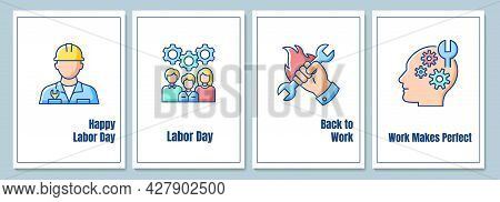 Labor Day Celebration Greeting Cards With Color Icon Element Set. Recognizing Labour Movement. Postc