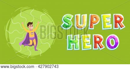 Strong Super Man Smiles And Flies To Save World Stretched Out His Hand. Brave Character In Superhero