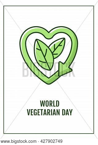 World Vegetarian Day Greeting Card With Color Icon Element. Ethical Food Choice. Postcard Vector Des