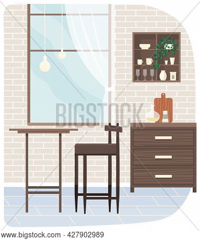 Kitchen Interior With Wooden Table, Chair, Plants And Dishes For Cooking And Serving. Room For Eatin
