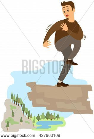 Man Suffering From Fear Of Of Heights. Person Is Scared Of Abyss Below. Male Character Fearfully Loo