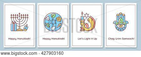 Jewish Festival Celebration Greeting Cards With Color Icon Element Set. Jewish Winter Event. Postcar