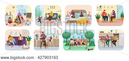 Set Of Scenes With People Using Mobile Phones, Laptop And Computer At Home During Working, Eating Or