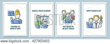 World Teachers Day Celebration Greeting Cards With Color Icon Element Set. Teaching Career. Postcard