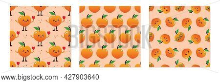 Set, Collection Of Three Vector Seamless Pattern Backgrounds With Peach Characters And Peach Fruits