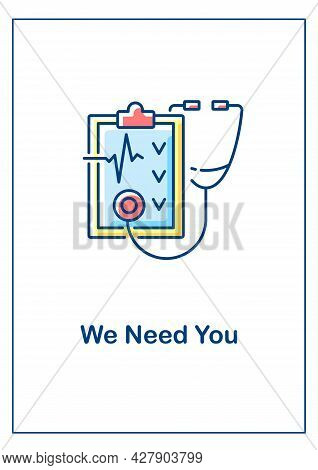 Wanted Doctor Greeting Card With Color Icon Element. We Need You. Professional Training. Postcard Ve