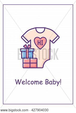 Birth Announcement Greeting Card With Color Icon Element. Gifts For Mom And Infant. Postcard Vector