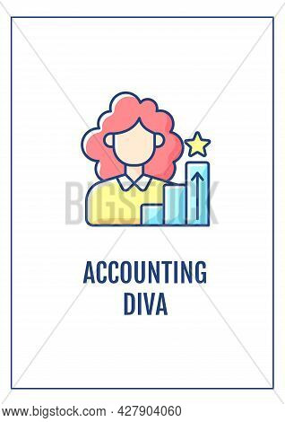 Accounting Diva Greeting Card With Color Icon Element. Career Accomplishments. Postcard Vector Desig
