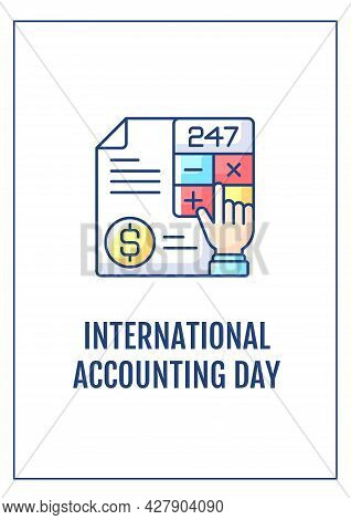 International Accounting Day Greeting Card With Color Icon Element. Financial Professionals. Postcar