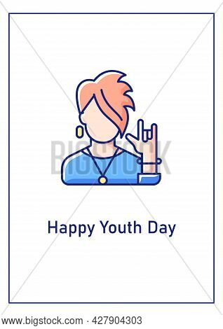 Happy Youth Day Greeting Card With Color Icon Element. Recognizing Young Minds And Skills. Postcard