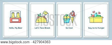 World Food Day Celebration Greeting Cards With Color Icon Element Set. Raising Awareness. Postcard V
