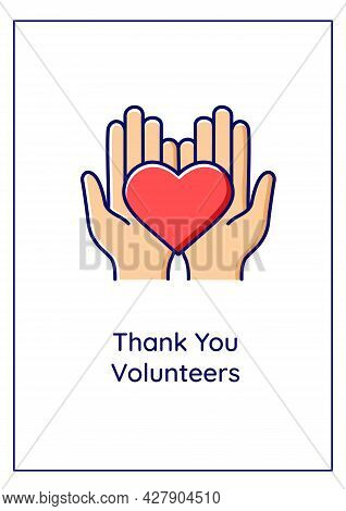 Thank You Volunteers Greeting Card With Color Icon Element. Realizing Better Society. Postcard Vecto