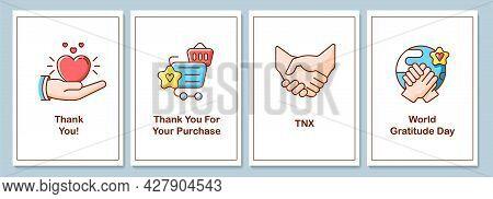 World Appreciation Day Celebration Greeting Cards With Color Icon Element Set. Postcard Vector Desig