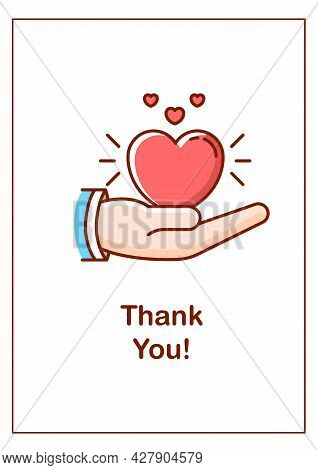 Thank You Greeting Card With Color Icon Element. Expressing Sincere Appreciation. Postcard Vector De
