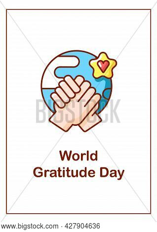 World Gratitude Day Greeting Card With Color Icon Element. Expressing Respect To Others. Postcard Ve