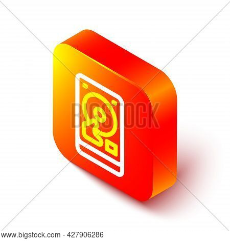 Isometric Line Hard Disk Drive Hdd Icon Isolated On White Background. Orange Square Button. Vector