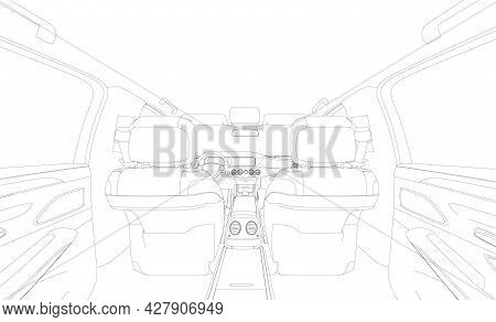 Contour Of A Chic Car Interior Isolated On A White Background. Interior View From The Rear Seat. Vec