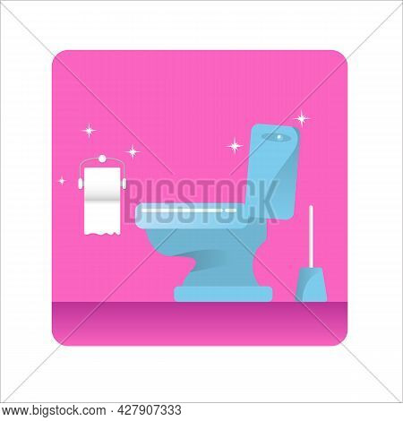 Toilet Bawl Icon With Toilet Paper Roll Isolated On Pink Background. Flat Toilet Room Icon. Vector C
