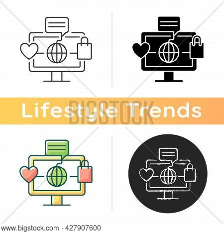 Online World Icon. Digital Shopping Experience. Telecommuting. Sharing Ideas And Thoughts Through So