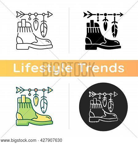 Boho Lifestyle Icon. Practicing Unconventional Style. Hippie Fashion. Bohemian Accessories. Retro Pa