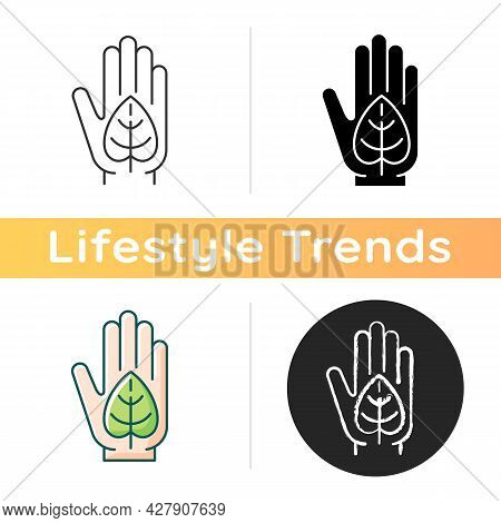 Green Lifestyle Icon. Embracing Sustainability. Reduce Negative Impact On Planet Health. Environment